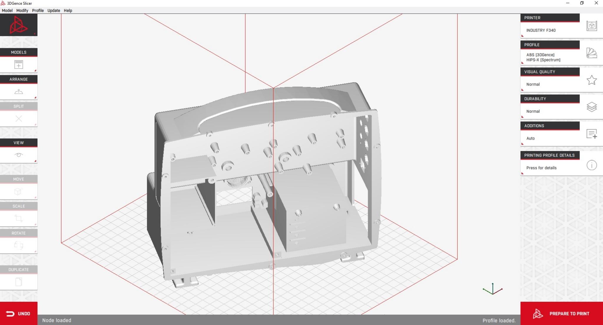 Wizualizacja obudowy kardiomonitora w oprogramowaniu 3DGence Slicer.