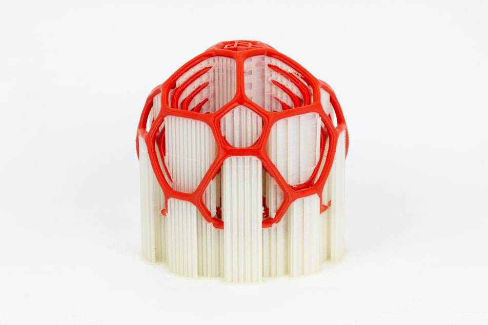 3D print of gyroscope. Printed from red ABS and BVOH - soluble support