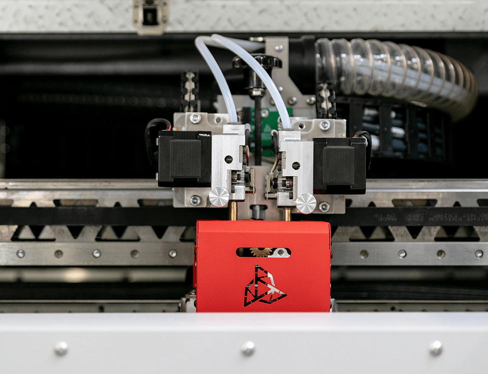 Industrial 3D printer INDUSTRY F340. Close-up of interchangeable printing module M500 mounted inside.