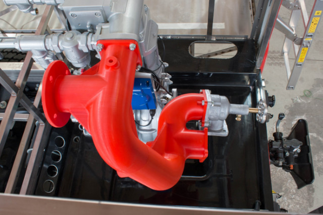 The prototype of fire engine's manifold 3D printed with ABS material on industrial 3D printer 3DGence INDUSTRY F340