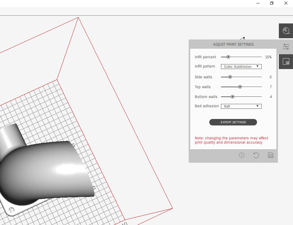 SLICER 4.0 3D model slicing software for 3D printers. Screen of printing profile modification options​.