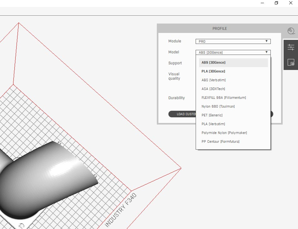 SLICER 4.0 3D model slicing software for 3D printers. Screen of choosing material profile.