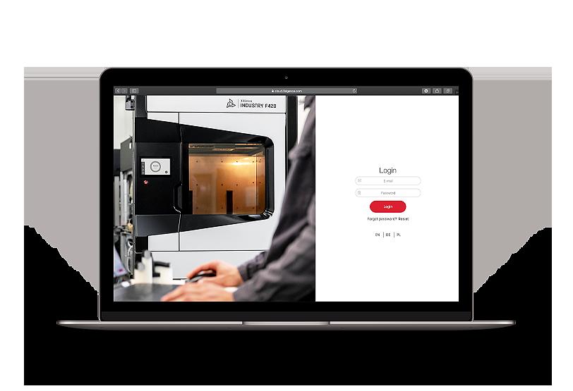 CLOUD online platform for 3D printing management. Login screen on MacBook.