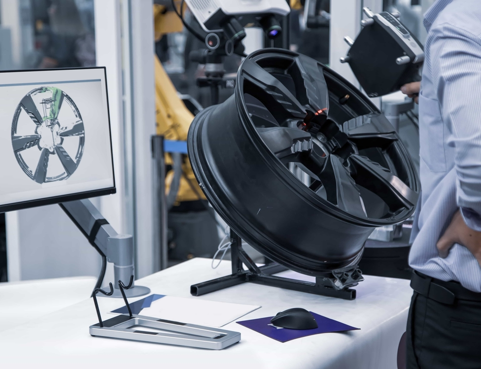 3D scanning of car alloy wheel.