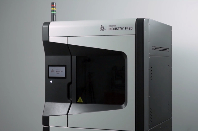 3DGence INDUSTRY F420 standing industrial 3D printer at the production site