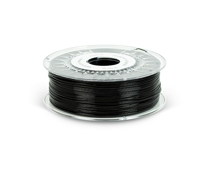 Black PLA filament on a spool